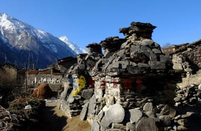 The Heritage chorten in Tsum Valley