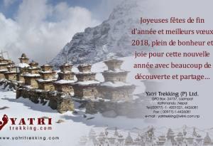 Toute l'équipe de Yatri Trekking présent nos meilleurs vœux pour la nouvelle année 2018